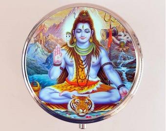 Shiva Hindu Pill Box Case Pillbox Holder Stash Trinket Box Hinduism Metaphysical Religion