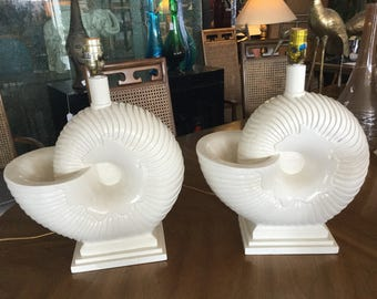 Palm Beach Nautilus Shell Lamps, Pair