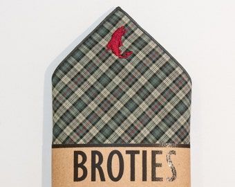 """Pocket Square – Sage/Charcoal/Red Plaid - """"Dancing Trout"""" Embroidery"""