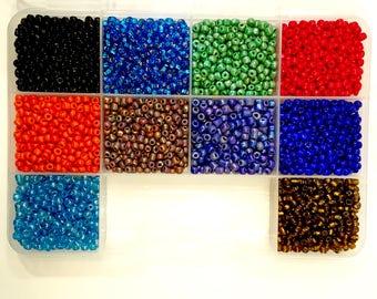 6/0 seed beads, seed bead kit/set, seed beads, 10 colors, 6/0 seed bead kit/set, multi colors, 6/0 seed beads