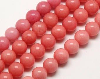Mountain Jade Beads, Carnation Pink, 8mm Round - 15 Inch Strand - eMJR-1014-8