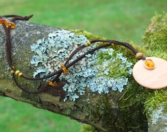 Juniper Amber Circle Pendant, Silver Bead, Nature Eco Friendly Wooden Necklace, Woodland Boho Hippie Pendant Amulet, Wood Amber Pendant
