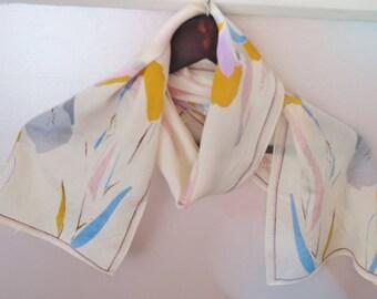 Iris, long silk scarf, vintage silk scarf, spring silk scarf, floral skinny scarf, narrow long scarf, echo scarves, silk hair wrap, bracelet