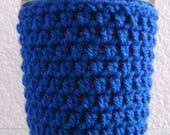 Ice Cream Cozy Pint Cover Crocheted Yogurt Coaster - Royal Blue