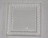 Vintage Tiffany Lead Crystal Square Basket Weave Serving Plate