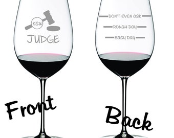 Judge Sand Carved Glass FREE Personalization