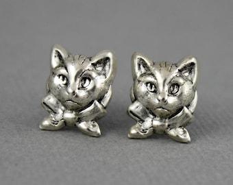 Kitty Cat with a Bow - antique silver post earrings, house pet, animal, feline stud earrings