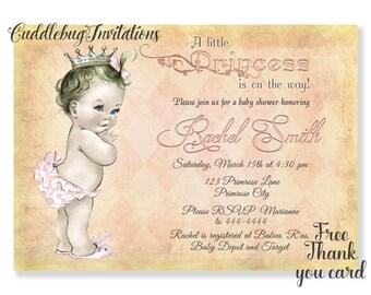 Girl Baby Shower Invitation | Baby Girl Shower | Royal Baby Shower | Princess Baby Shower | Little Princess Baby Shower Printable