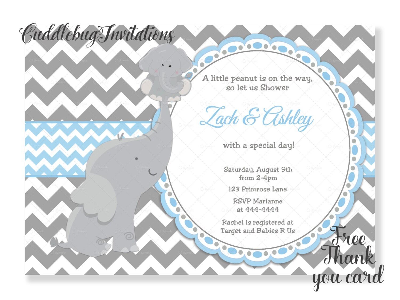 Blue Elephant Boy Baby Shower Invitation Baby Boy Shower