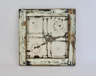Framed Ceiling Tin Magnet Board Handmade using Reclaimed Wood