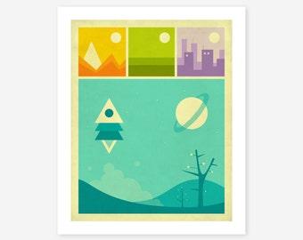 WORLDS OF WONDER (Giclée Fine Art Print) Minimal Pop Art