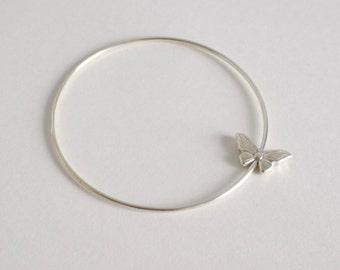 Spinning butterfly bangle bracelet - solid sterling silver bangle - silver butterfly bracelet