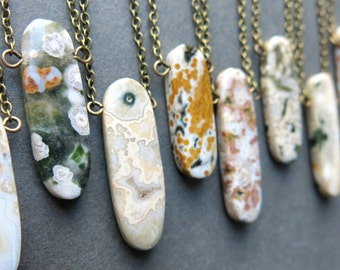 Ocean Jasper Necklace - Small Stone Necklace - Ocean Jasper Jewelry - Boho Stone Necklace - Stone Jewelry - Dainty Stone Necklace