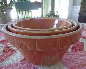 Vintage Nesting Stoneware Bowls, Glazed Stoneware Bowls