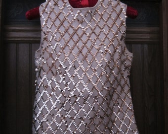 free shipping, VINTAGE SEQUIN BLOUSE, 1960's sequined shirt, sequin womens top