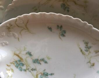 Set of 10 vintage Haviland Limoges bone dishes blue flowers china collection