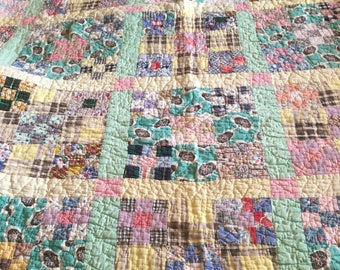 Vintage feedsack quilt 9 patch turquoise yellow