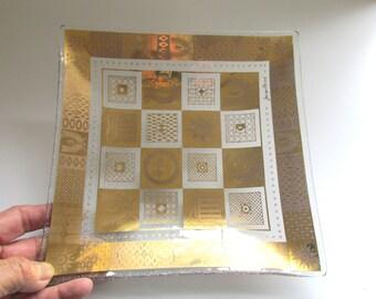 Georges Briard Celeste pattern square glass dish