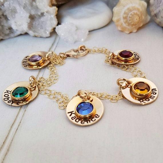 Name Bracelet, 5 Names, Gold Name bracelet, Personalized Grandmother Bracelet, Nana bracelet, ID Bracelet, Birthstone Jewelry, Gold Bracelet