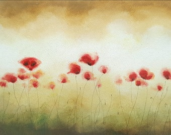 Small Poppy Painting, Original Acrylic Painting Red Poppies Wild Flower, Canvas Art Painting, Small Art, Poppies Field, Home Decor