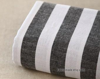 Yarn Dye Stripes Linen Fabric, Black White Stripes Linen Cotton Blended Fabric- 1/2 Yard