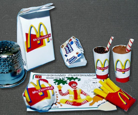 Fast Mc Donald, paper minis, DIY kit from paper in miniature for the Doll House, Doll House, dollhouse miniatures # 40028