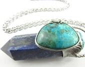 the nereid - chrysocolla, solar quartz & lapis lazuli crystal pendant