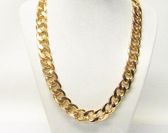 Beautiful Large Chunky Gold Plated Curb Chain Necklace