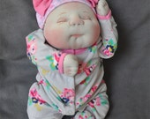 """RESERVED to Brooke. Fretta's OOAK Soft Sculptured Newborn Baby Girl, Textile Baby Doll, 47 cm / 18.5"""" tall"""