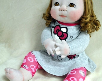 "Fretta's life size 24"" / 61 cm Soft Sculpture Baby. Strawberry Blonde Hair, Brown Eyes. OOAK Textile Baby Doll, Child Safe"