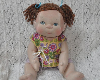 "Fretta's OOAK Textile Baby Doll. 40.5 cm / 16"" Soft Sculpture Baby Doll. Blue Eyes, Brown Hair. Child Friendly Cloth Doll."