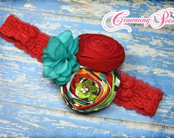 Teal, Black, Red Hair Accessories, Headband, Turquoise, Lime Flower Hairpiece, Baby Girl Headband, Fabric Flower Brooch, Baby Hair Bow, Clip