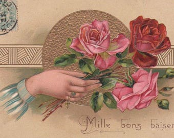 Hand With Pink And Red Roses Original Antique Postcard