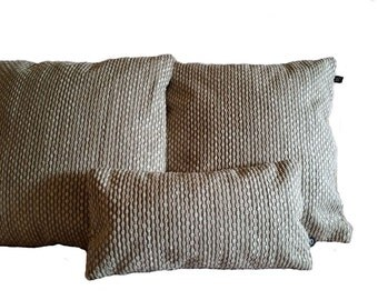 Three (3) Nobilis Grain De Cafe Silver Cream Pillow Covers - B4