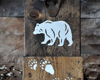Rustic, Wooden Bear Beer Bottle Opener
