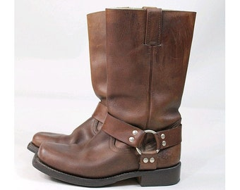 GoWest leather biker boots  euro 41  Us men 7.5 Brown  leather Toe Harness boots