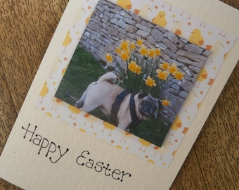 Pug Easter card. Happy Easter. Individually made Pug Easter card