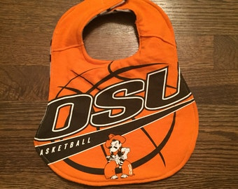 Upcycled Bib from Oklahoma State Basketball T-shirt