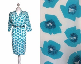 Silk Vintage Dress - 80's Dress - 1980's Dress - Italian Dress - Wrap Blouson Dress - Turquoise Blue And White Wrap Dress
