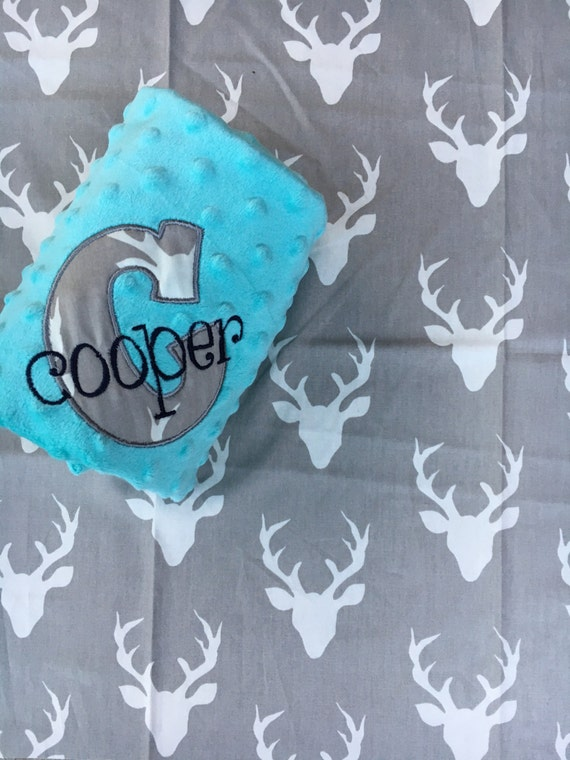 Personalized Custom Baby Blanket - Antlers Baby shower gift