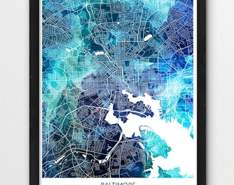 Baltimore Map Print, Baltimore Poster Print, Baltimore Maryland Digital Urban Street Map, Blue Watercolor Print, Home Office Printable Decor