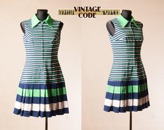 Navy Blue Green Striped 60s 70s Mod Tennis  dress / Zip Front Accordion pleated Short Tennis dress  / Crimplene Jersey dress / size Medium