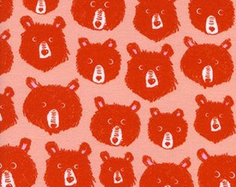 Cozy by Cotton + Steel Fabrics - Teddy and the Bears in Brushed Twill in Pink