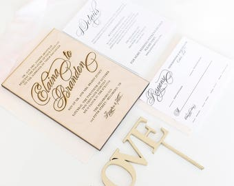 Real wood engraved wedding invitation for boho rustic wedding - DEPOSIT