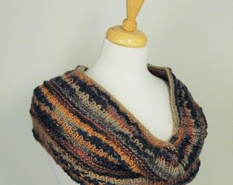Womans hand-Knit Multi-Color Cowl