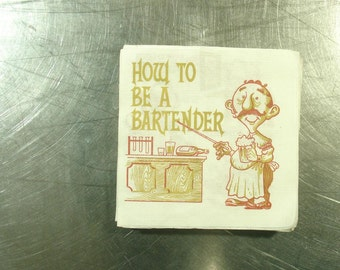 "group of 20 vintage bar napkins ""how to be a bartender"" comic funny"
