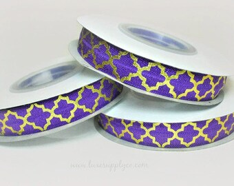 "Purple with GOLD Foil Quatrefoil Pattern FOE - Large Moroccan Design 5/8"" Wide Fold Over Elastic - 5 Yards"