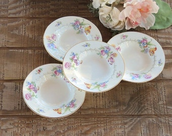 Romantic Minton Berkshire Rimmed Dessert Bowls Set of 4 Made in England Wedding China, Replacement China, Ca. 1944