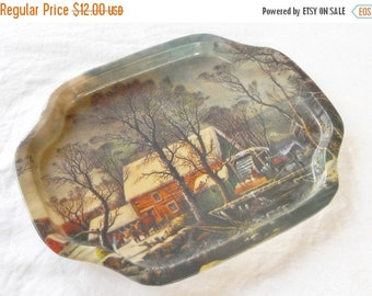 On Sale Vintage Currier and Ives Metal Snack Tray, Rustic Holiday Decor