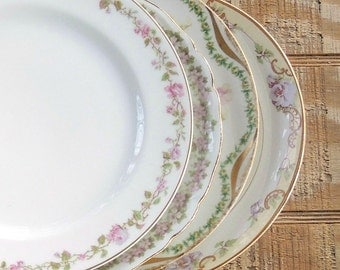 Mismatched Limoges Dessert Plates Set of 4 Salad Plates, Plates for Wedding, Tea Party PlatesReplacement Ch